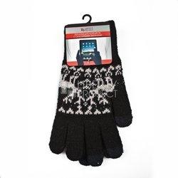 Перчатки для сенсорных экранов (3 пальца, размер L) (R0000499) (Олени, черный)