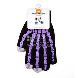 Перчатки для сенсорных экранов (3 пальца, размер M) (R0001008) (фиолетовые косточки)