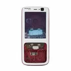 Корпус для Nokia N73 (CD000464) (белый/красный)