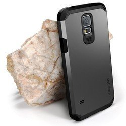 Пластиковый чехол-накладка Spigen SGP Tough Armor для Samsung Galaxy S5 (SGP10762) (стальной)