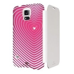 чехол-книжка для samsung galaxy s5 (white diamonds heartbeat 2411hbt41) (розовый)