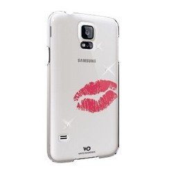 чехол-накладка для samsung galaxy s5 (white diamonds lipstick kiss 2410lip60) (белый)