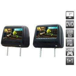 Комплект подголовников со встроенным DVD плеером и LCD монитором (Avis AVS0733T + AVS0734BM) (черный)