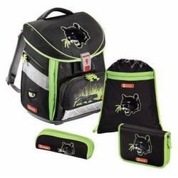 Ранец школьный с аксессуарами Step By Step (Comfort  Wild Cat 00129308) (черный, зеленый)