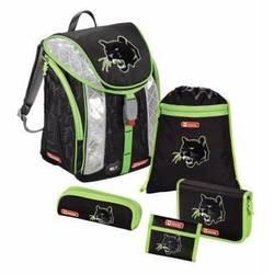Ранец школьный с аксессуарами Step by Step (Flexline Wild Cat 00129299) (черный, зеленый)
