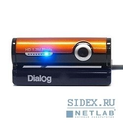 веб-камера dialog wc-31 (u) black-orange - 1.3m,  hd,  встр. микрофон,  usb 2.0,  черно-оранжевая