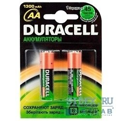 Аккумуляторная батарея AA (Duracell HR6-2BL) (1300 мАч, 2 шт)