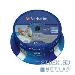 ���� BD-R SL Verbatim 25Gb 6x Cake Box (25��) (43811)