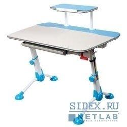 Компьютерный стол Conductor-03/Milk&B Стол детский,  изменение высоты/угла наклона столешницы+полка с подставкой для книг,  ножки металл,  цвет молочный+голубой