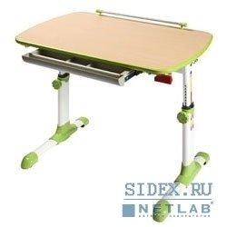 Компьютерный стол Conductor-06/Beech&G. Стол детский,  изменение высоты/угла наклона столешницы,  ножки металл,  цвет бук+зеленый