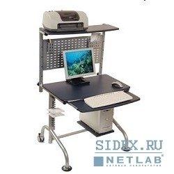 Компьютерный стол DL-001/Cherry,  Стойка компьютерная,  цвет вишня,  МДФ,  выдвиж. полка под кл-ру,  выносные полки п/сист. блок и принтер