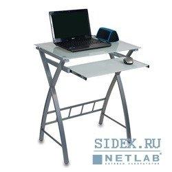 Компьютерный стол GD-003/White Стол для компьютера,  белое закаленное стекло,  выдвижная полка под клавиатуру,  размер 60см (ш) x 45см (д) x 75 см (в)