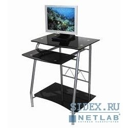 Компьютерный стол GD-005/Black. Стол для компьютера,  черное закаленное стекло,  выдвижная полка под клавиатуру,  полка под системный блок,  размер 60см (ш) x 50см (д) x 76 см(в)