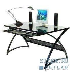 Компьютерный стол SIGMA-5/Black Стол компьютерный,  стеклянный,  черное закаленное стекло 8 и 5мм,  выдвижная полка под клавиатуру,  размер 137х76х75
