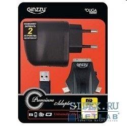 Сетевое зарядное устройство 2хUSB + кабель APPLE, mini, microUSB (Ginzzu GA-3212UB/S3)