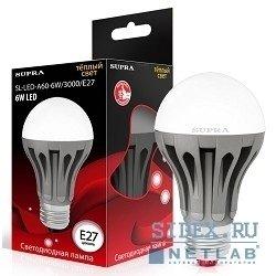 Светодиодная лампа SUPRA LED SL-LED-A60-6W/3000/E27 (теплый)