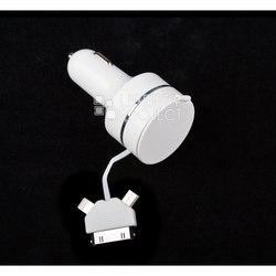 Автомобильное зарядное устройство USB + кабель рулетка 3 в 1 для Apple 30-pin, Apple 8-pin, microUSB (R0002562) (белый)