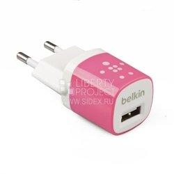 Сетевое зарядное устройство USB (Belkin R0003592) (белый/розовый)