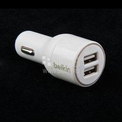 Автомобильное зарядное устройство Lightning - USB для Apple iPhone 5, 5C, 5S, 6, 6 plus, iPad 4, Air, Air 2, mini 1, mini 2, mini 3 (Belkin F8j071bt04-wht) (белый)