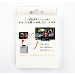 HDMI адаптер для Apple iPhone 2, 3, 3G, 3GS, 4, 4S, iPad 2, 3 (белый)