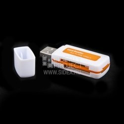Картридер All in 1 USB 2.0 (Mini 532) (белый с оранжевым)