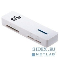 устройство считывания 2.0 card reader 3q/ cr/ rt5158/ ext/ cf-ms-sd-mmc/ white/ rtl (crm013-h)
