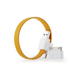 Кабель USB-microUSB+30 pin для Apple iPhone 3GS/4/4S, iPad/2/3 new, iPod Nano 6/touch 4 (GGMM Loop Citrus Yellow) (DZ00419/00053-00101)