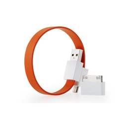 Кабель USB-microUSB+30 pin для Apple iPhone 3GS/4/4S, iPad/2/3 new, iPod Nano 6/touch 4 (GGMM Loop Fiesta Orange) (DZ00420)