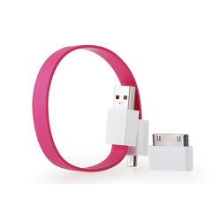 Кабель USB-microUSB+30 pin для Apple iPhone 3GS/4/4S, iPad/2/3 new, iPod Nano 6/touch 4 (GGMM Loop Juicy Pink) (DZ00421)