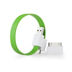 Кабель USB-microUSB+30 pin для Apple iPhone 3GS/4/4S, iPad/2/3 new, iPod Nano 6/touch 4 (GGMM Loop Fresh Lime) (DZ00422)