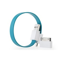 Кабель USB-microUSB+30 pin для Apple iPhone 3GS/4/4S, iPad/2/3 new, iPod Nano 6/touch 4 (GGMM Loop Tidal Blue) (DZ00423)