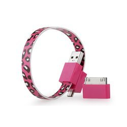 Кабель USB-microUSB+30 pin для Apple iPhone 3GS/4/4S, iPad/2/3 new, iPod Nano 6/touch 4 (GGMM Loop Cherry Leopard) (DZ00425)