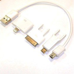 Дата-кабель USB-30 pin/mini-USB/micro-USB+переходник Lightning от Apple iPhone 2, 3G, 3GS, 4, 4S на iPhone 5, 5C, 5S, 6, 6 plus, iPad 4, Air, Air 2, mini 1, mini 2, mini 3 (Gembird A-USBTO14B) (белый)
