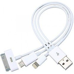 Дата-кабель USB-30 pin/micro-USB/Lightning для Apple iPhone 2, 3G, 3GS, 4, 4S, 5, 5C, 5S, 6, 6 plus, iPad 4, Air, Air 2, mini 1, mini 2, mini 3 (Gembird A-USBTO16B) (белый)