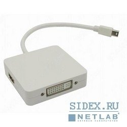 видеоадаптер mini display port m to dvi/hdmi/displayport,  20 cm,  (emdpm-3in1dpf20)