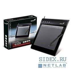"""Графический планшет Genius G-Pen/EasyPen M610XA,  6""""x10"""",  беспроводное перо,  2 программы (Adobe Photoshop и Corel Painter),  Black"""