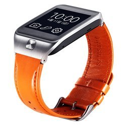 Кожаный ремешок для Samsung Gear 2, Gear 2 Neo (ET-SR380LOEGRU) (оранжевый)