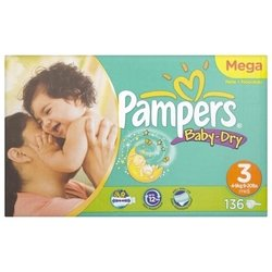 pampers baby dry 3 (4-9 кг) 136 шт.