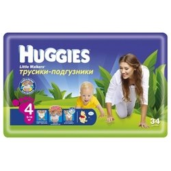 huggies little walkers 4 (9-14 кг) 34 шт.