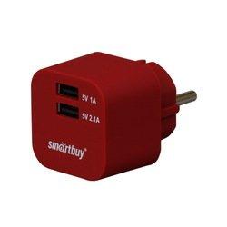 Универсальное сетевое зарядное устройство, адаптер 2хUSB, 2.1А (SmartBuy VOLT SBP-2300) (красный)