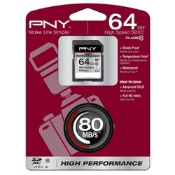 pny high performance sdxc class 10 uhs-i u1 64gb