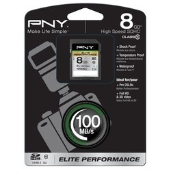 pny elite performance sdhc class 10 uhs-i u1 8gb