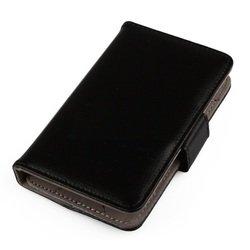 """Универсальный кожаный чехол-книжка для телефонов до 6"""" (R0003932) (черный)"""