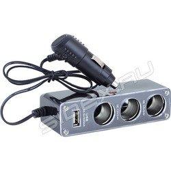 Разветвитель на 3 прикуривателя + USB - WF-0096 (переходник, тройник)