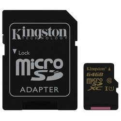 Карта памяти MicroSDXC/Transflash Class10 UHS-I U1 Kingston 64GB + адаптер (SDCA10/64GB)