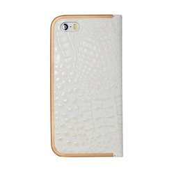 чехол-книжка для apple iphone 5, 5s (anymode dcff006rwh folio frame swarovski) (белый)