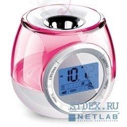Часы-светильник ЭРА (W-UP-E5) (бело-розовый)