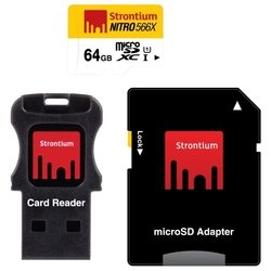 strontium nitro microsdxc class 10 uhs-i u1 566x 64gb + sd adapter & usb card reader