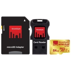 Strontium NITRO PLUS microSDXC Class 10 UHS-I U3 64GB + SD adapter & USB Card Reader