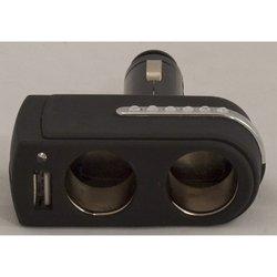 Разветвитель прикуривателя на 2 гнезда + USB (Intego C-01) (черный)